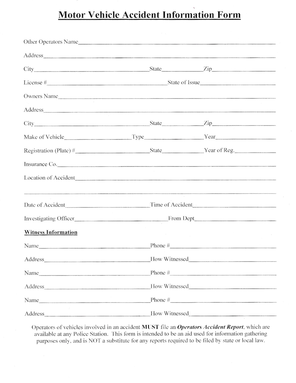 Motor Vehical Accident Info Form