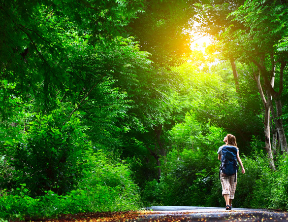 Young-woman-walking-on-green-asphalt-road-in-forest