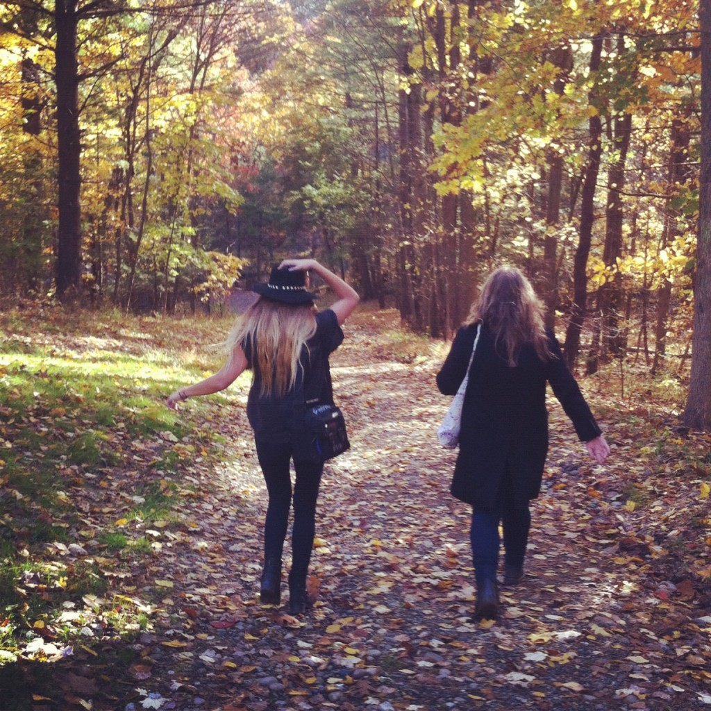 girls walking nature